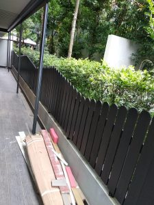 Chengal Wood Fencing at QBay Residences