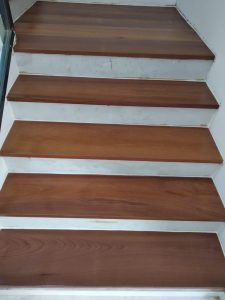 Burmese Teak Timber Staircase at Crowhurst Drive