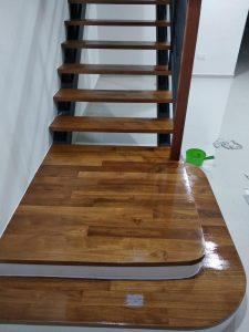 Burmese Teak Wood Staircase at Springwood Crescent