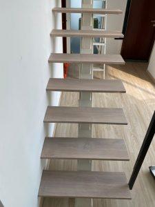 Burmese Teak Wood Stairs in White Wash Stain @ Crystal Heights
